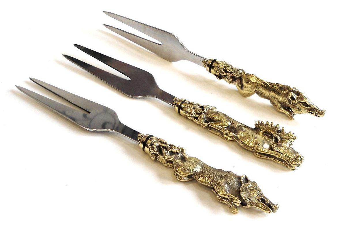 Вилка для мяса с цельно-металлической ручкой