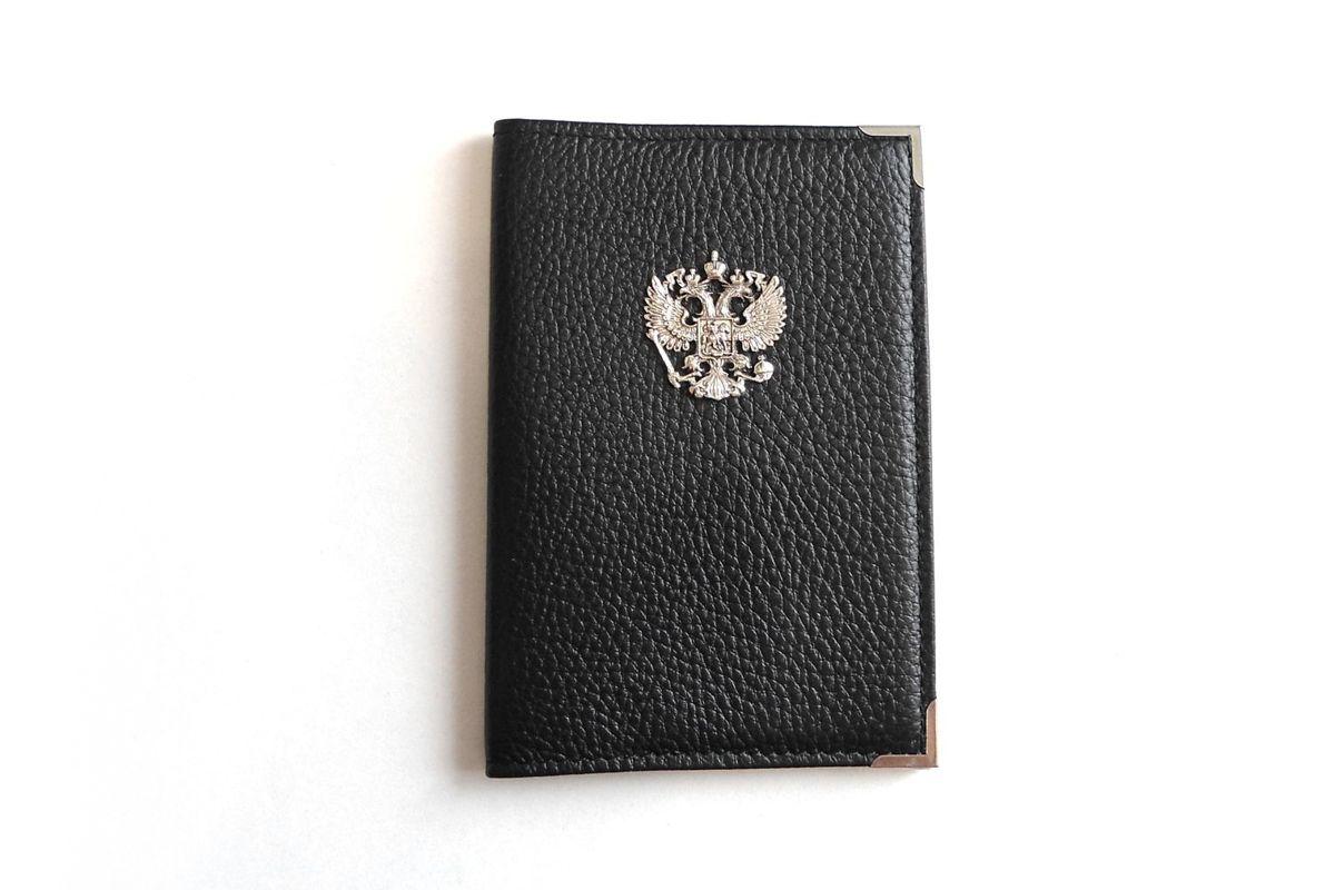 Герб России из серебра на портмоне