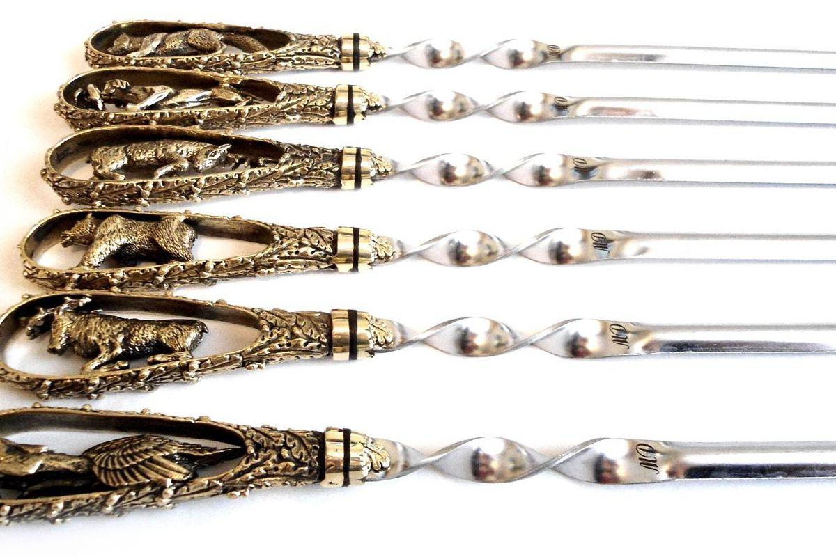 Лазерная гравировка на на шампурах с литой ручкой