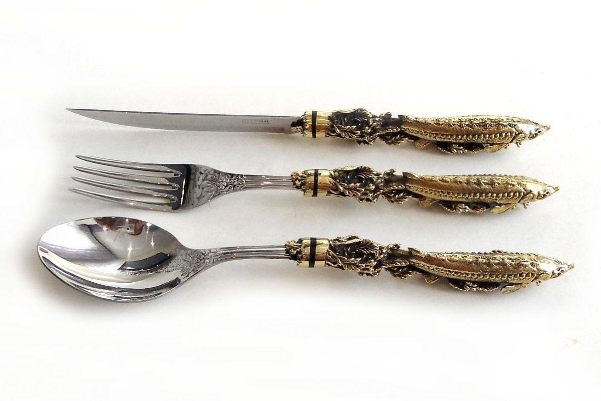 Набор Осетр нож, ложка и вилка ручная работа