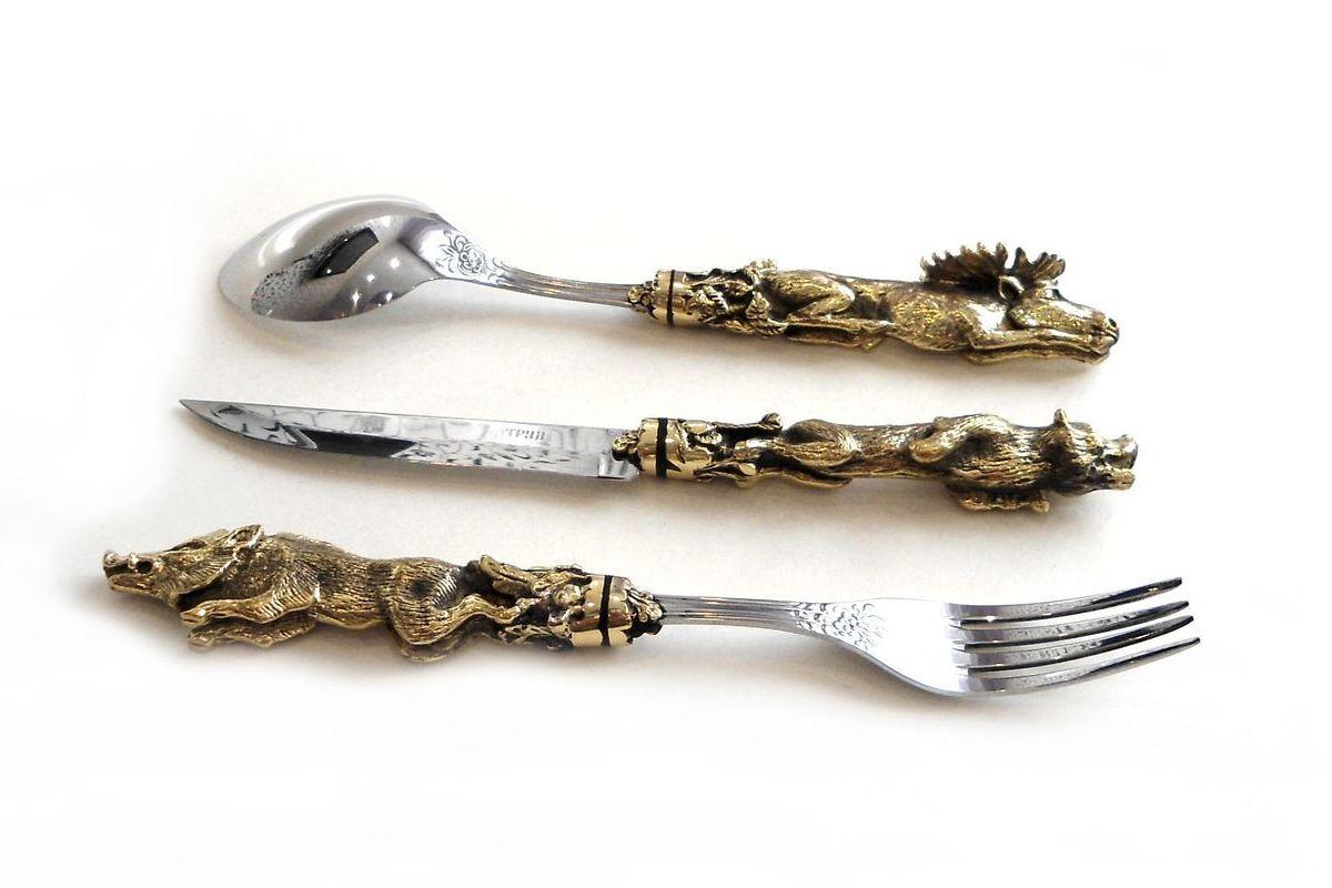 Набор Звери вилка, ложка и нож ручная работа заказать