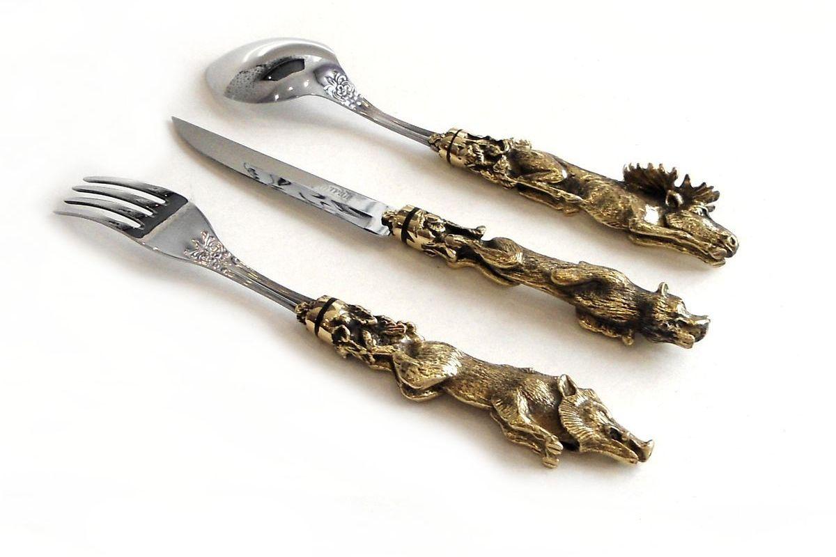 Набор Звери вилка, ложка и нож ручная работа