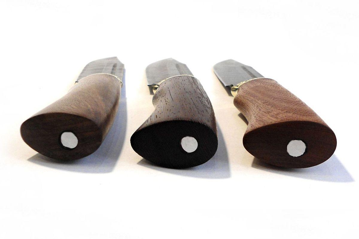 Нож кованый Охотник Дамаск с деревянной ручкой