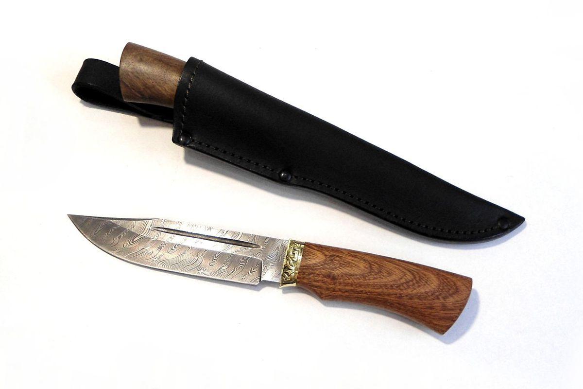 Нож кованый Охотник Дамаск в ножнах ручная работа