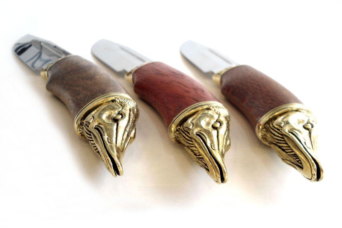 Нож кованый Щука с литьем и деревянной ручкой