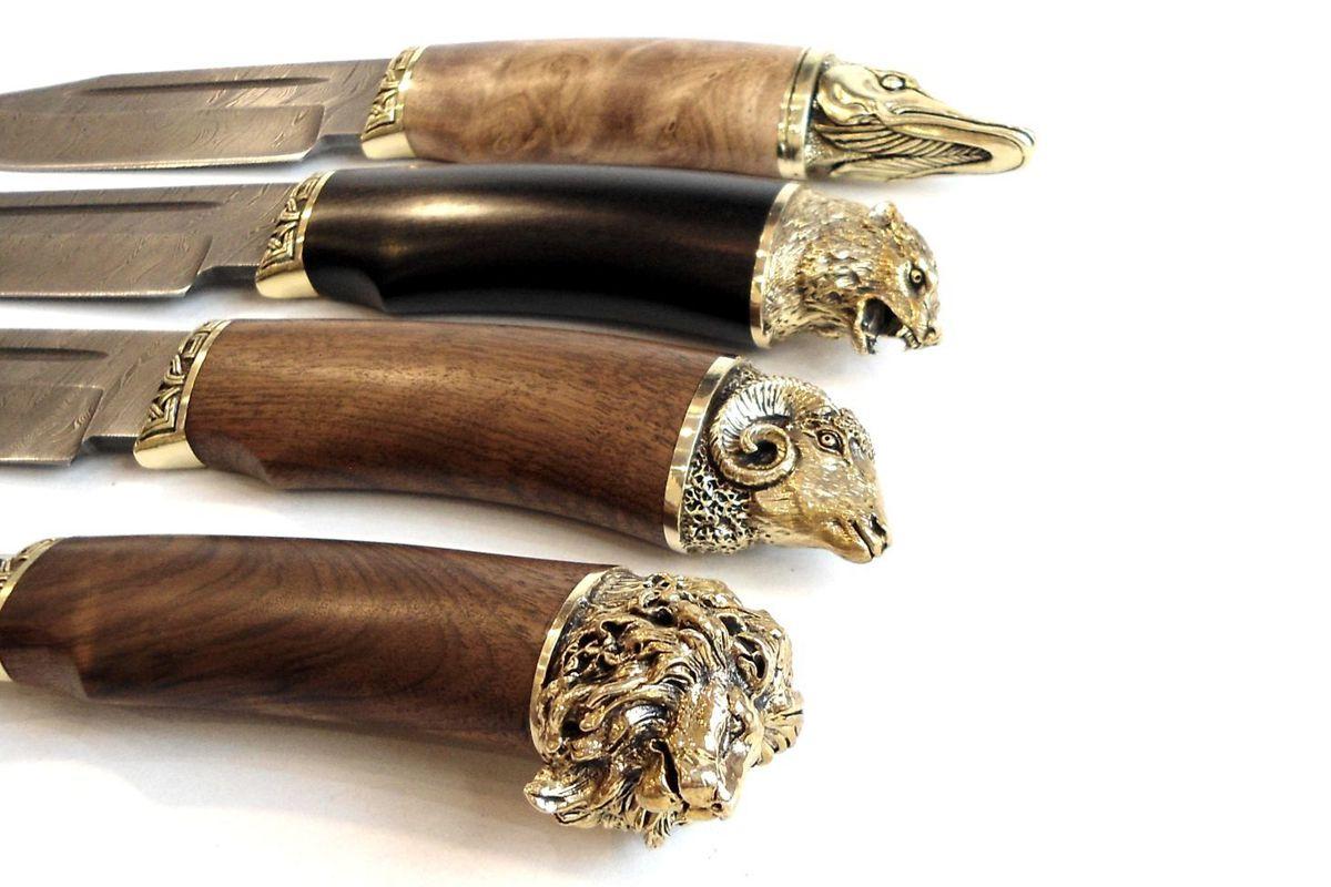 Нож кованый трофей дамаск ручка в форме головы льва, щуки, барана, волка