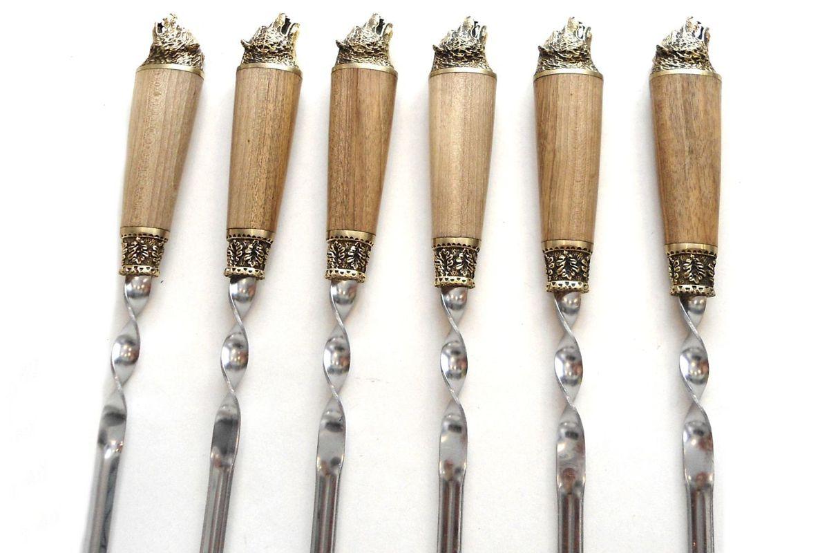 Шампуры Медведь с деревянной ручкой орех